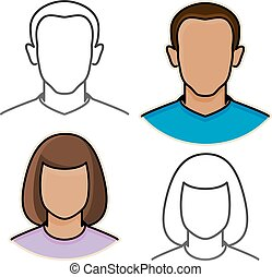 ikonok, elvont, vektor, avatar, női, hím