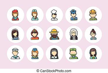 ikonok, emberek, állhatatos, foglalkozás, eps10