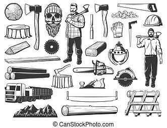 ikonok, erdő, erdőkitermelés, favágó, fakitermelés