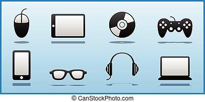 ikonok, &, geek, számítógép, fekete, 8, fehér