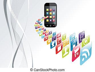ikonok, globális, apps, tech, iphone, háttér