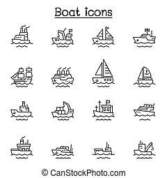 ikonok, grafikus, ábra, vektor, csónakázik, tervezés, egyenes
