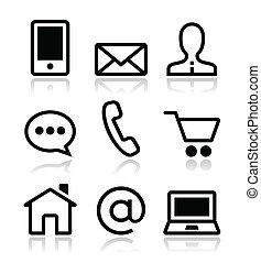 ikonok, háló, állhatatos, érintkezés, vektor