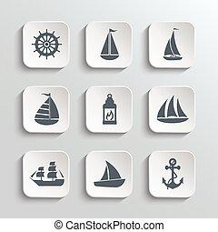 ikonok, háló, állhatatos, vitorlás hajó