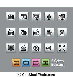 ikonok, háló, atlaszselyem, /, doboz, multimédia