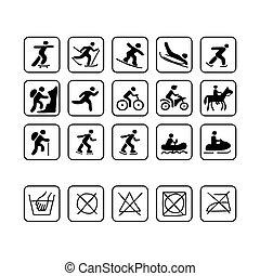 ikonok, helyett, sport, öltözék, tervezés