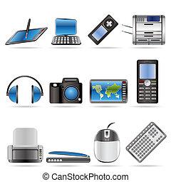 ikonok, hi-tech, műszaki, felszerelés