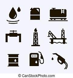 ikonok, iparág, benzin, kifogásol, állhatatos, vektor, olaj