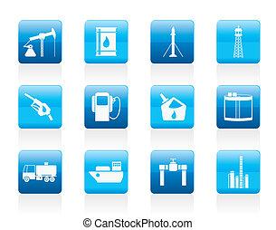 ikonok, iparág, benzin, olaj