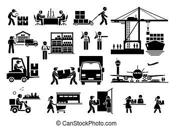 ikonok, iparág, hajózás, munkaszervezési, import, set., export