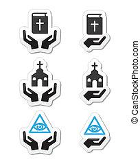 ikonok, kézbesít, biblia, -, vallás