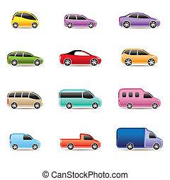 ikonok, különböző, írógépen ír, autók