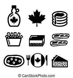 ikonok, kanadai, élelmiszer, -, juharfa szirup