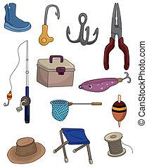 ikonok, karikatúra, halászat, állhatatos