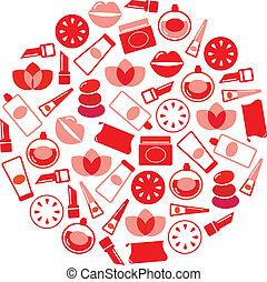 ikonok, kozmetikum, wellness, (, elszigetelt, karika, piros, ), fehér
