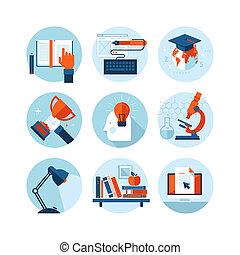 ikonok, lakás, oktatás, tervezés