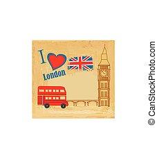 ikonok, london, grunge, kártya