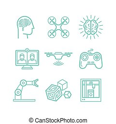 ikonok, mód, lineáris, állhatatos, vektor, divatba jövő