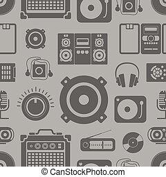 ikonok, motívum, seamless, gyűjtés, felszerelés, audio
