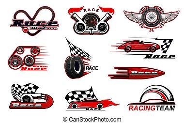 ikonok, motorsport, vektor, versenyzés, autó