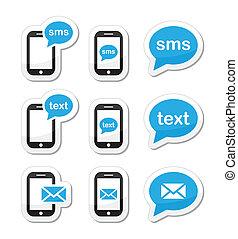 ikonok, mozgatható, szöveg, sms, felad, üzenet