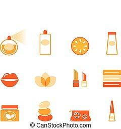 ikonok, narancs, (, állhatatos, kozmetikai, ásványvízforrás, ), wellness