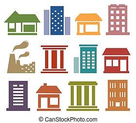 ikonok, noha, városi, építészet