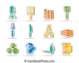 ikonok, piknik, grill, grillsütő