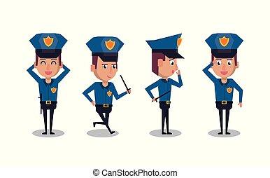 ikonok, rendőrség, karikatúra, tiszt