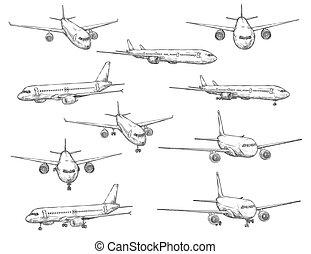 ikonok, repülőgép, civil, skicc, repülés, repülőgép