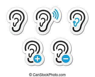 ikonok, segély, süket, probléma, fül, hallás