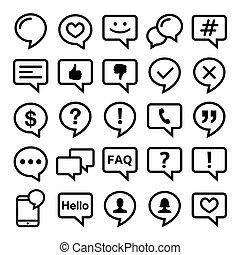 ikonok, set-, háló, érintkezés, megjegyzés, vektor, beszéd, blog, tervezés, egyenes, buborék