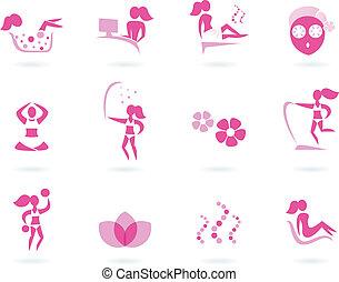 ikonok, sport, ásványvízforrás, wellness, elszigetelt, női, &, rózsaszínű, fehér