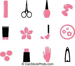 ikonok, szépség, kozmetikum, (, izolál, fehér, körömápolás, bl, rózsaszínű