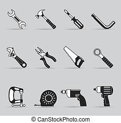 ikonok, szín, -, eszközök, egyedülálló, kéz