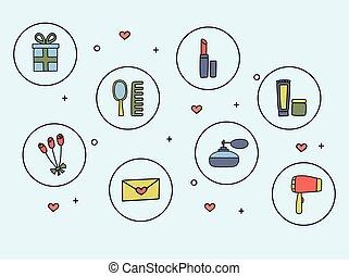 ikonok, szórakozottan firkálgat, segédszervek, ábra, kéz, vektor, kozmetikum, húzott, style., nők