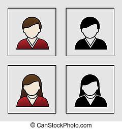 ikonok, -, tag, vektor, avatar, női, felhasználó, hím