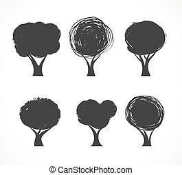 ikonok, vektor, gyűjtés, fa