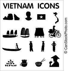 ikonok, vektor, vietnam