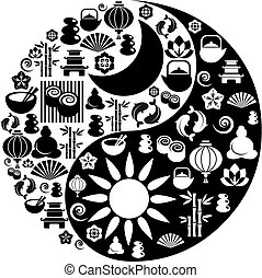ikonok, yang, jelkép, zen, yin, elkészített