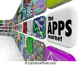 ikony, ściana, app, apps, zastosowanie, targ, software