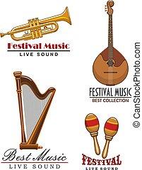 ikony, święto, instrumentować, wektor, muzyka, muzyczny