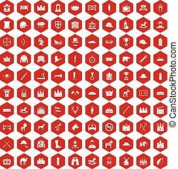 ikony, 100, jazda konna, czerwony, sześciokąt