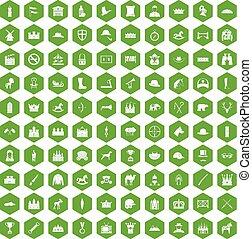 ikony, 100, jazda konna, zielony, sześciokąt