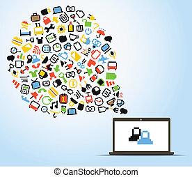 ikony, abstrakcyjny, komputer, mowa, pixel, chmura