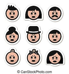 ikony, albo, ludzie, chory, zmęczony, twarze