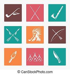 ikony, amerykańscy indianie, etniczny, krajowiec
