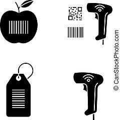 ikony, barcodes, glyph, komplet