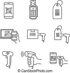 ikony, barcodes, linearny, komplet