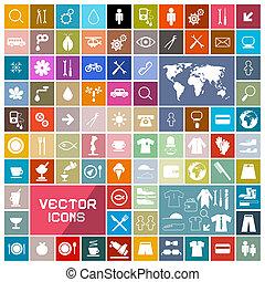 ikony, barwny, kwadraty, komplet, wektor, płaski